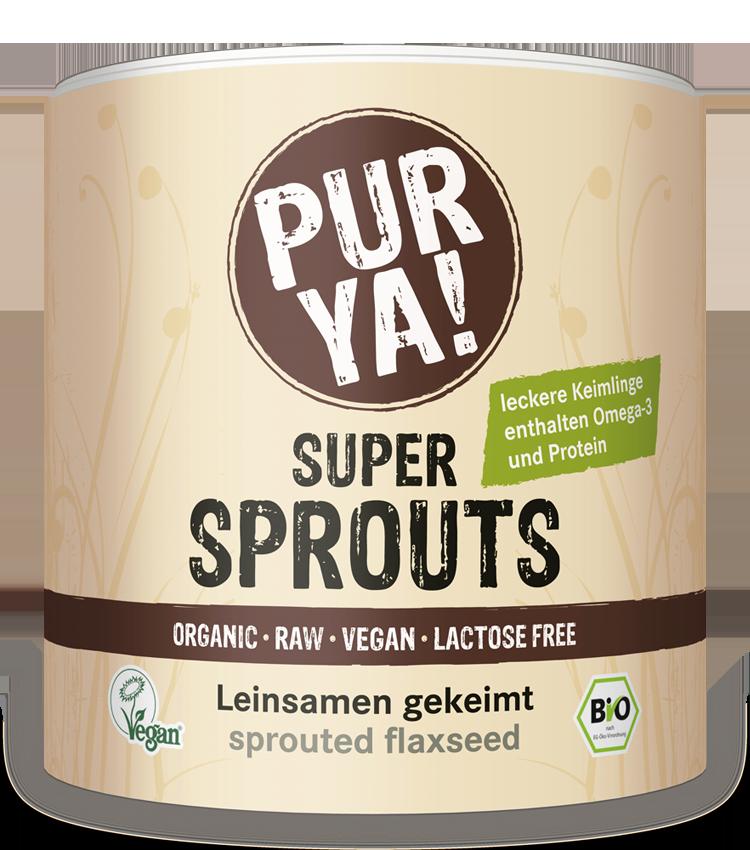 PURYA Super Sprouts Leinsamen gekeimt