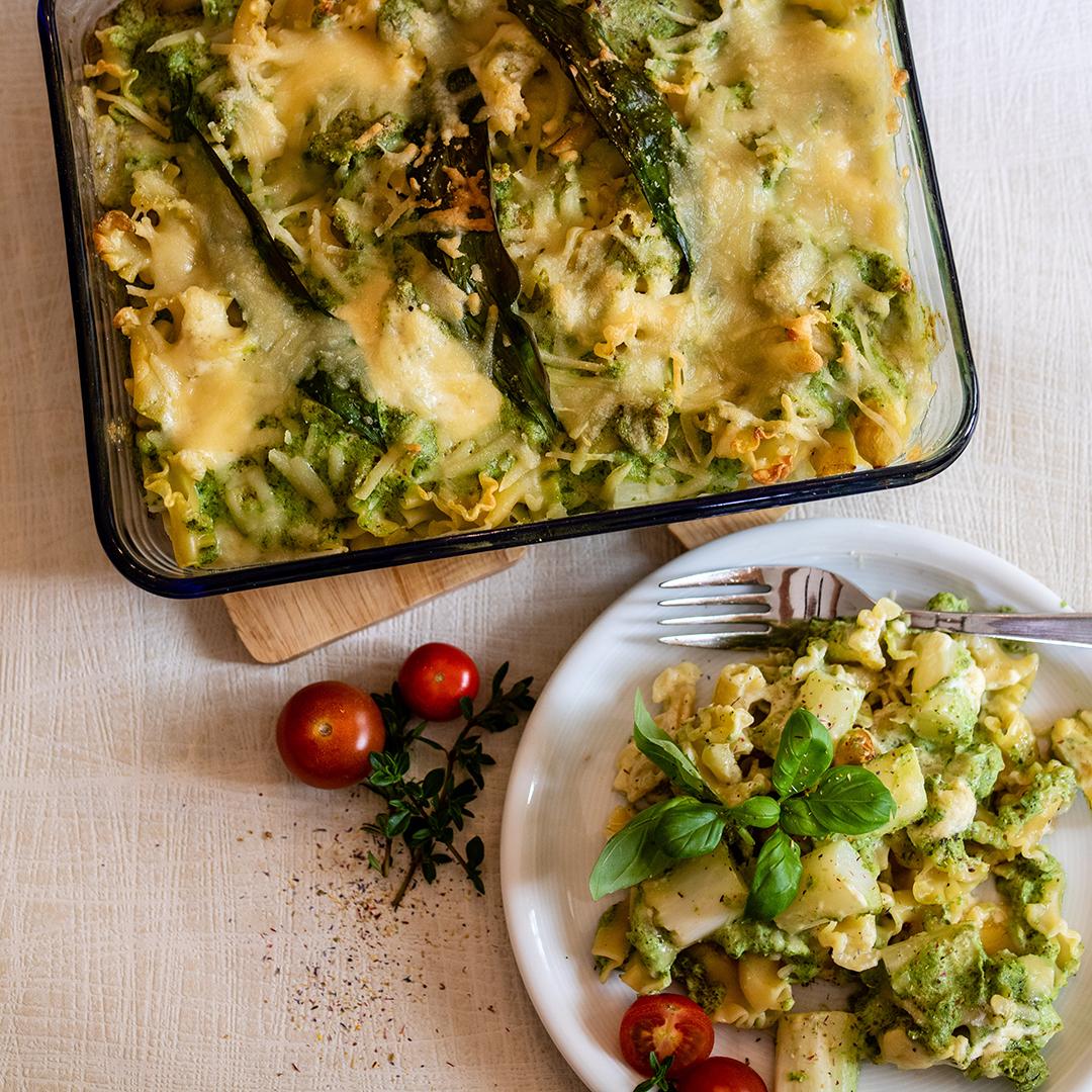 Spargel-Pasta-Auflauf mit Hanfprotein-Pesto